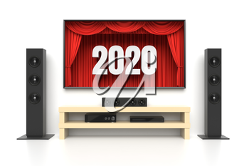 New Year 2020. Home cinema set with large lcd tv panel with theater curtains, music speakers, video disc player. Revealing new tv show, sale advertisement, movie presentation, concept. 3D illustration