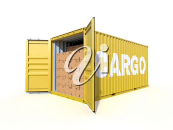 Ship cargo container side view, open doors, full with cardboard boxes. Pile of cardboard boxes on pallet. 3D illustration