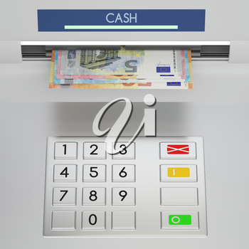 Atm machine keypad with different euro banknotes in money slot. Password security, giving money returning bank debt online payment, cash withdrawal deposit, transfer funds, concept. 3D illustration