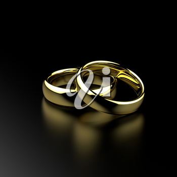 Gold wedding rings on black grained background. Love and marriage concept. 3D illustration.