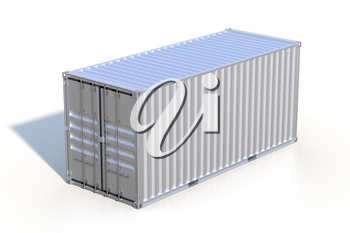 Ship cargo container 20 feet length. Silver grey metallic freight box with shadow isolated on white background. Marine logistics, harbor warehouse, customs, transport shipping concept. 3D illustration