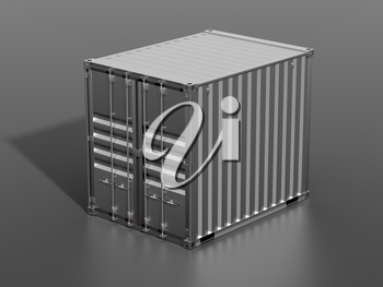 Ship cargo container 10 feet length. Dark grey metallic freight box with shadow grey background. Marine logistics, harbor warehouse, customs, transport shipping concept. 3D illustration