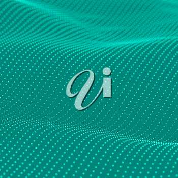 Teal background. Abstract bokeh dots waves. 3D illustration.