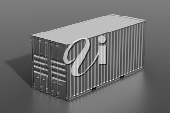 Ship cargo container 20 feet length. Dark grey metallic freight box with shadow grey background. Marine logistics, harbor warehouse, customs, transport shipping concept. 3D illustration