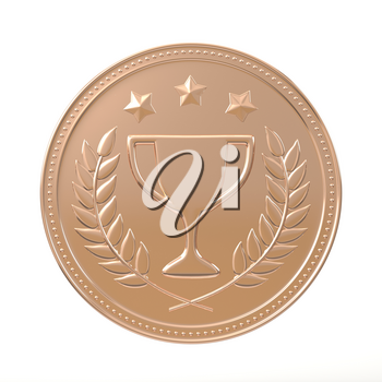 Bronze medal with laurels, stars and cup. Round blank coin with ornaments. Victory, best product, service or employee, first place concept. Achievement in sports. Isolated on white background.