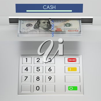 Atm machine keypad with 100 dollar banknotes in the money slot. Password security, online payment, cash withdrawal deposit, transfer funds, giving money returning bank debt concept. 3D illustration