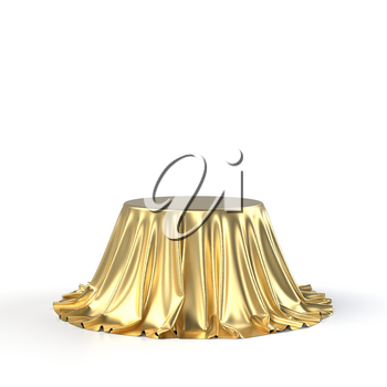 Round box covered with golden fabric isolated on white background. Surprise, award, prize, presentation concept. Showroom stand. Reveal a hidden object, raise the curtain. 3D realistic illustration