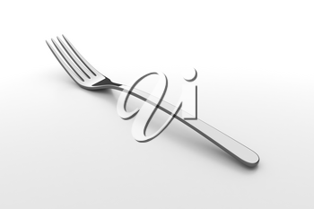 Silver fork. Fine cutlery on grey background. Single fork on a table. Silverware with shadow. 3D illustration.