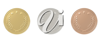 Gold, silver, bronze medals set. 1st, 2nd, 3rd place. Sports award, product ranking, best price, first place concept. Graphic design elements isolated on white background. Realistic 3D illustration