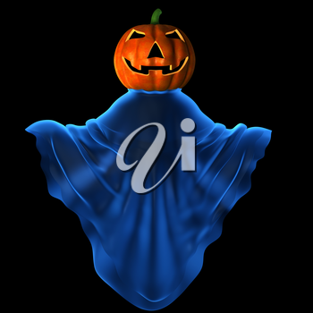 Carved pumpkin in mystique clothes