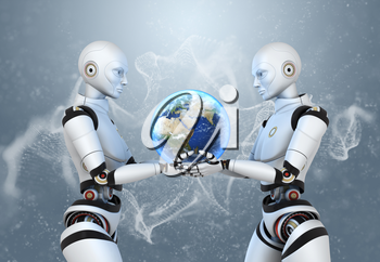Two cyborgs holding the Earth in their hands. Clipping path included.