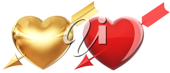 Golden and red hearts pierced by arrow