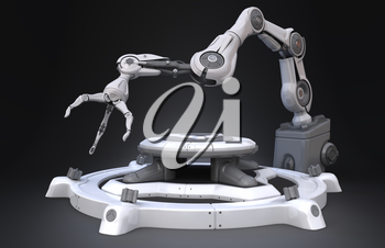 Sci-Fi Industrial robot arm.3D illustration