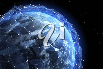 Information field around the Earth. 3D illustration