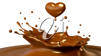 Drop of chocolate in form of heart. 3D illustration