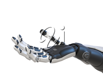 Robot android hand isolated on white. 3D illustration