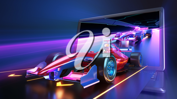 Racing car flying out of laptop screen. Race car with no brand name is designed and modelled by myself. 3D illustration