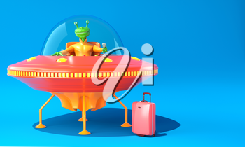 Illustration of UFO with green alien on blue background. 3D illustration