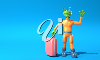 Green alien with luggage. 3D illustration