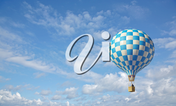 3d render of blue-white hot air balloon in the blue sky