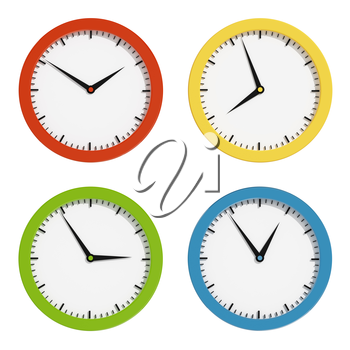 Multi-colored clocks. 3d render