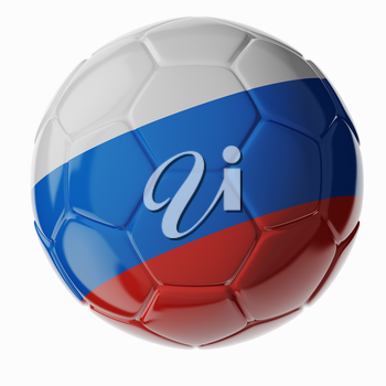 Football/soccer ball with flag of Russia. 3D render