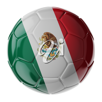 Football/soccer ball with flag of Mexico. 3D render