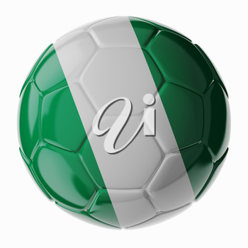 Football/soccer ball with flag of Nigeria. 3D render