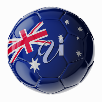 Football/soccer ball with flag of Australia. 3D render