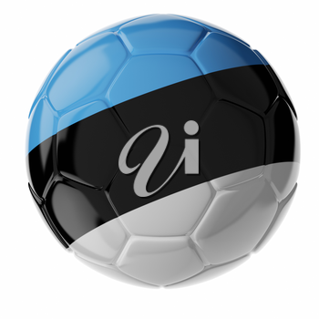 Football soccer ball with flag of Estonia. 3D render
