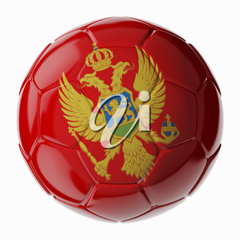 Football soccer ball with flag of Montenegro. 3D render