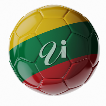 Football soccer ball with flag of Lithuania. 3D render