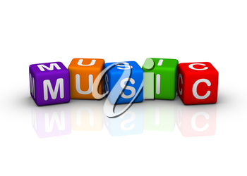music (buzzword colorful cubes series)