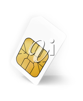 White Sim card with soft shadow, 3d render illustration