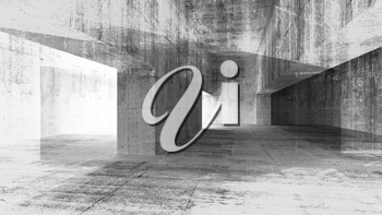 Abstract 3d illustration with grunge concrete urban interior