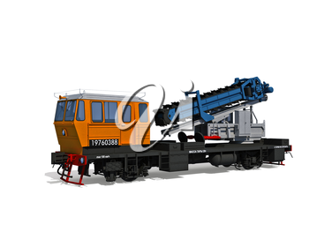 3d render illustration isolated on white: Perspective view of the modern support digger motor-rail car