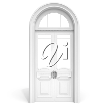 Classical architecture style interior object: white wooden door with empty glass sections,  isolated on white with soft shadow