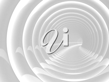 Abstract illustration with white bent spiral tunnel