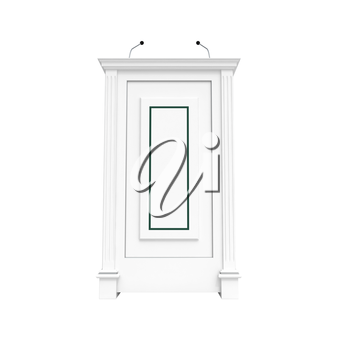 Classical architecture style interior object. White wooden podium isolated on white