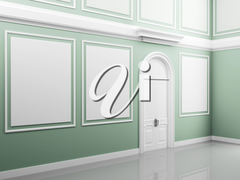 Abstract palace interior with light green walls and white door