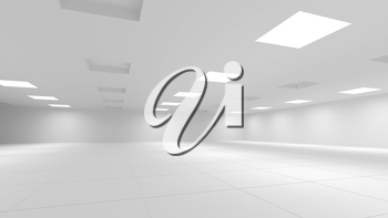 Abstract white 3d interior with square lights