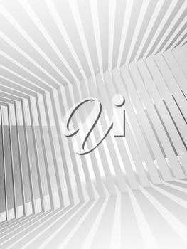 Abstract white 3d interior background with light beams