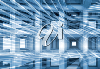 3d abstract, digital background with blue braced construction