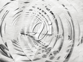 Abstract white spiral illustration background with old gray paper texture