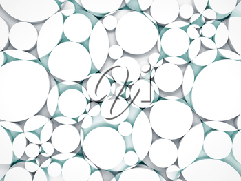 Abstract white and blue 3d background with chaotic intersected relief circles pattern