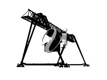 Container bridge gantry crane. Black silhouette isolated on white background, render of 3d model with perspective effect