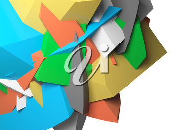 Abstract colorful  chaotic polygonal fragments on white background. 3d illustration
