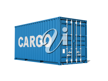 Blue cargo container with text label isolated on white background, 3d illustration