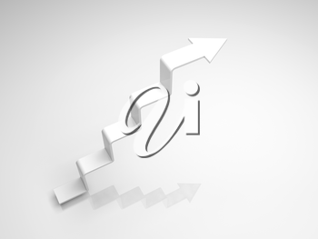 White arrow in shape of stairway going up, 3d illustration