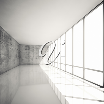 Abstract modern architecture background, empty white interior with bright windows and concrete walls, 3d illustration with retro toned filter, instagram style